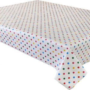 Colourful polka dot tablecloth in a wipe clean vinyl