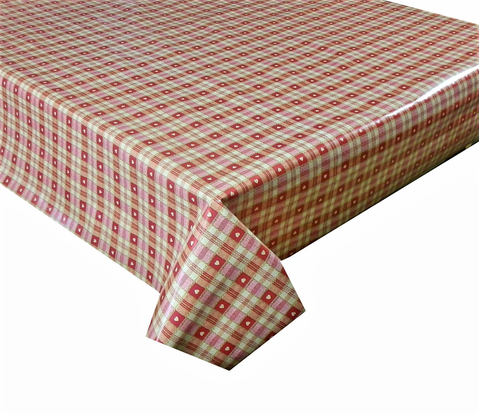 Red check hearts vinyl tablecloth