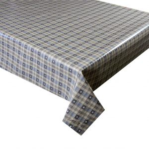 Grey check hearts vinyl tablecloth