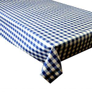 Blue gingham check vinyl tablecloth