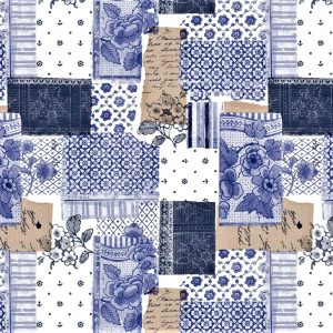 Blue Patchwork vinyl tablecloth