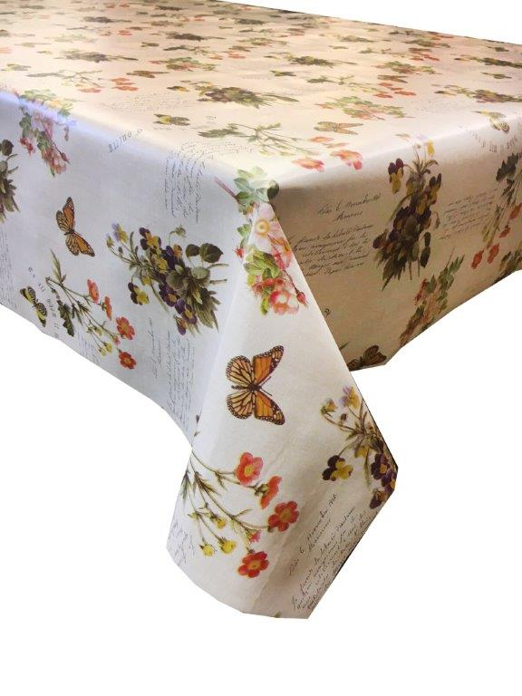 Pink and blue floral with butterfly design vinyl tablecloth