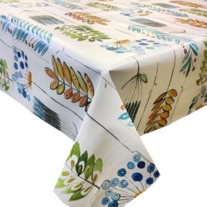 Artistic funky leaves design print on a vinyl tablecloth.