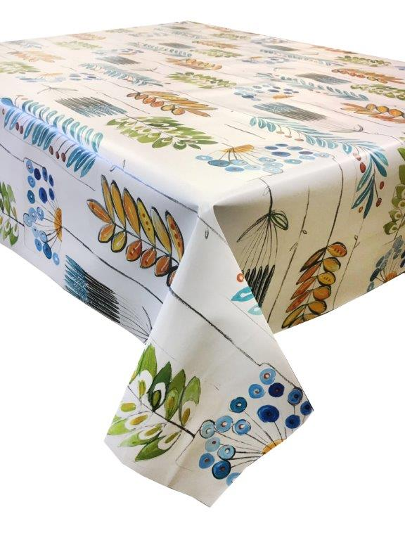 Exceptionnel Artistic Funky Leaves Design Print On A Vinyl Tablecloth.