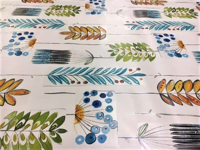 Blue, Green And Gold Funky Leaves Design Vinyl Tablecloth