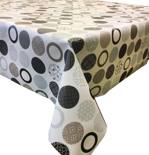 High Quality Brown Circles Wipe Clean Vinyl Tablecloth.