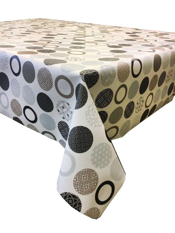 Brown circles wipe clean vinyl tablecloth.