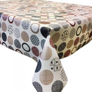 Geometric patterned red circles design vinyl tablecloth