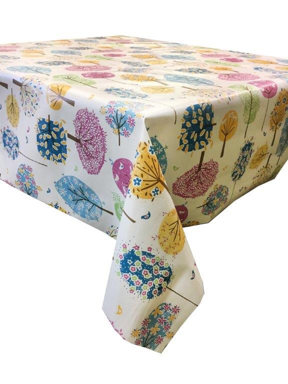 Funky trees in colourful design vinyl tablecloth