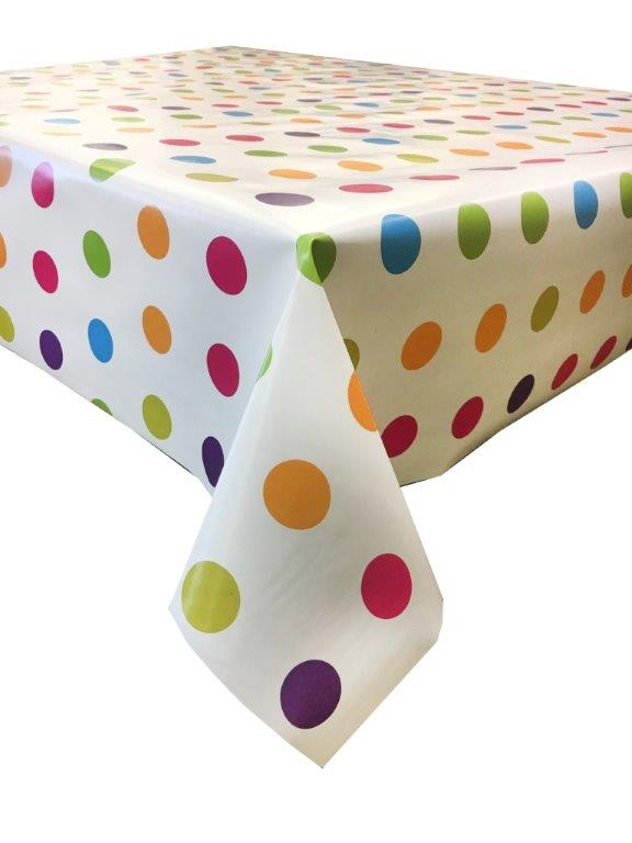 Jolly spots design wipe clean vinyl tablecloth