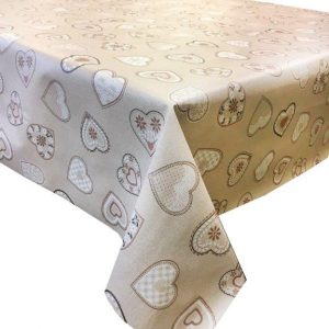 Love hearts beige vinyl tablecloth 54 inch wide