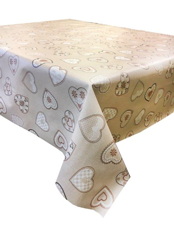 Lovehearts beige vinyl tablecloth 54 inch wide