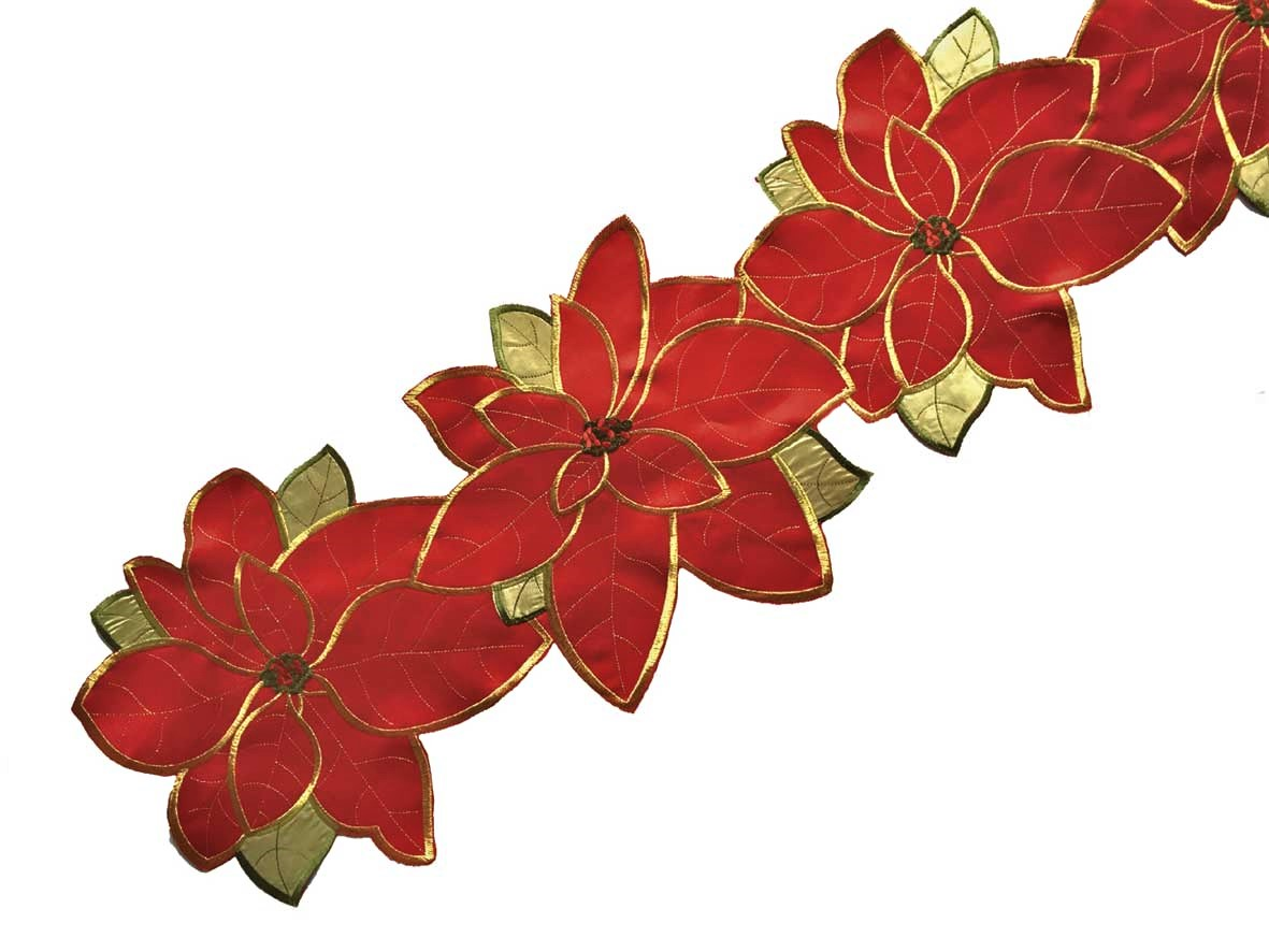 Poinsettia grande table runner in a 33x228cm length, ideal for Christmas