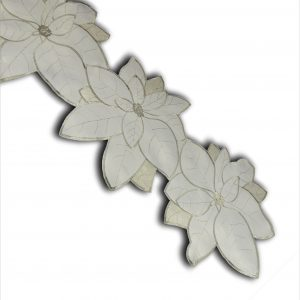 Poinsettia grande silver table runner in a 33x180cm length, ideal for Christmas