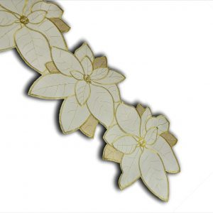 Poinsettia grande gold table runner in a 33x228cm length, ideal for Christmas