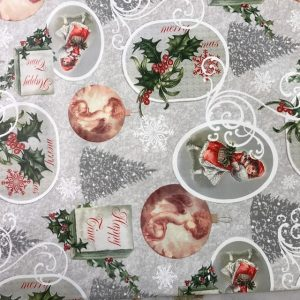 Cherubs and Trees Christmas vinyl tablecloth