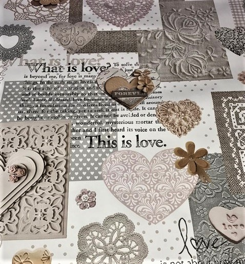 Hearts and Lace vinyl tablecloth