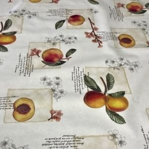 Peach Script vinyl tablecloth on a cream base