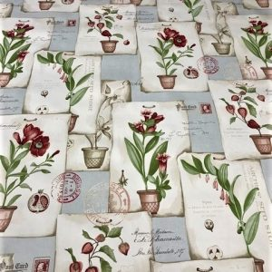 Floral Postcard vinyl tablecloth