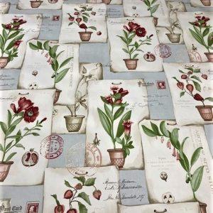 Floral Postcard vinyl tablecloth