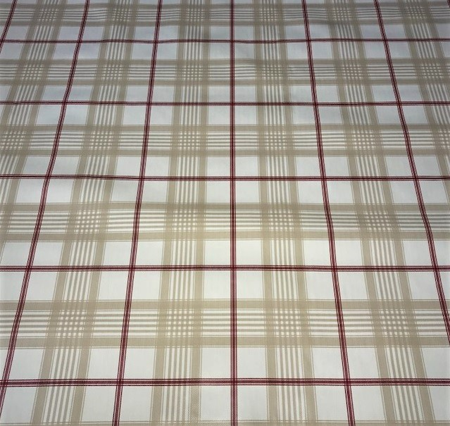 Beige Red Check vinyl tablecloth