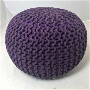 Footstool or pouffe in aubergine