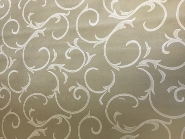 Beige scroll vinyl tablecloth