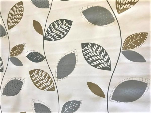 Silver grey leaves vinyl tablecloth