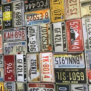 USA Car number plates vinyl tablecloth