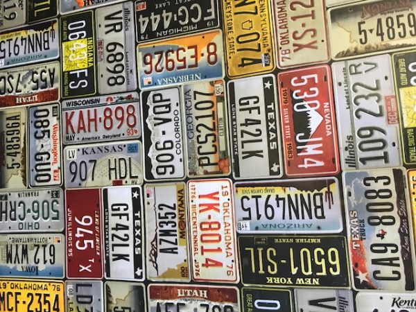 USA Car number plates vinyl tablecloth