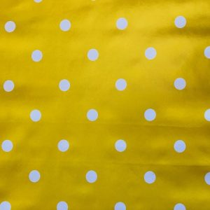 Mustard yellow polka dot vinyl tablecloth