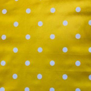 Mustard yellow polka dot vinyl tablecloth