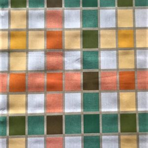 green white and orange check vinyl tablecloth