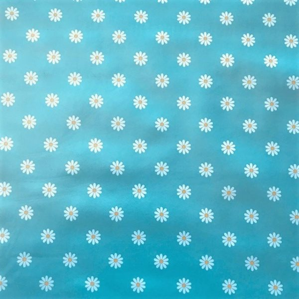 Daisy duck egg blue vinyl tablecloth