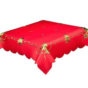 Red Christmas Tablecloth in a 52 x 70 inch Oblong