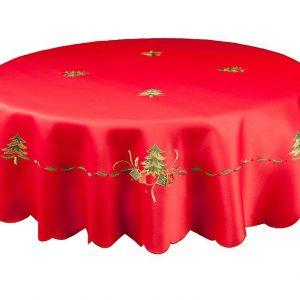 Red Christmas Tablecloth in a 70 inch round
