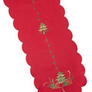 Red Christmas tree table runner