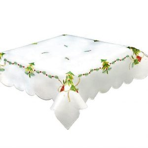 White Christmas Tablecloth in a 35 x 35 inch square