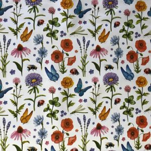 Country flowers and insects vinyl tablecloth