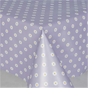White daisy lilac vinyl tablecloth