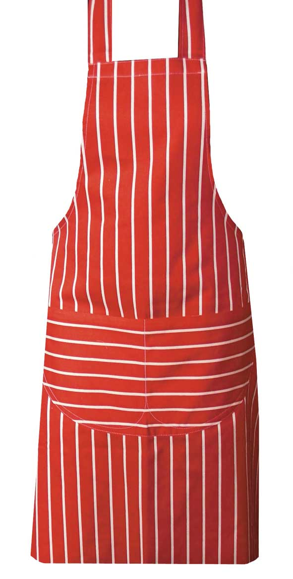 Red butchers stripe apron with long ties