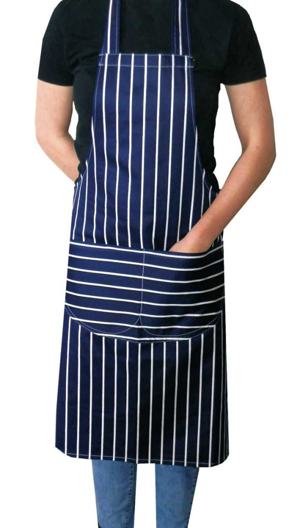 Navy butchers stripe apron with long ties