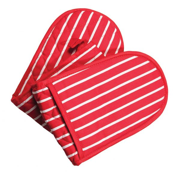 Butchers stripe red double oven gloves