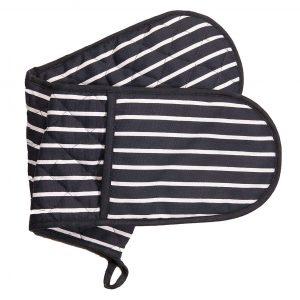Butchers stripe navy double oven gloves