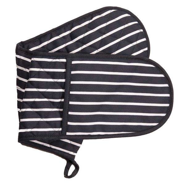 Butchers stripe navy double oven gloves