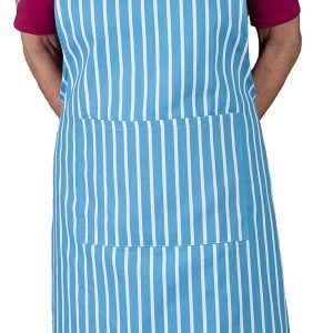 Blue butchers stripe apron with long ties
