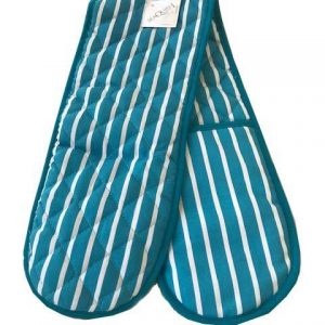 Butchers stripe blue double oven gloves