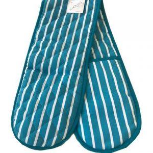 Butchers stripe blue double oven gloves