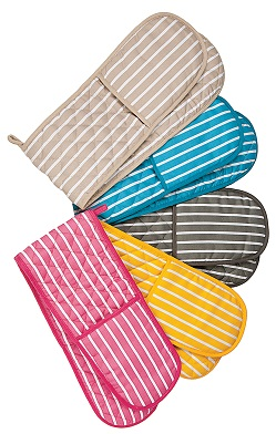 Pink butchers stripe double oven gloves