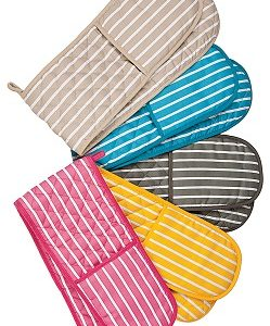 Stone butchers stripe double oven gloves
